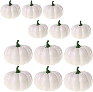 12 Pack Fake Artificial Mini Pumpkins for Halloween Decoration,White Small Realistic Pumpkin Fall Harvest Thanksgiving Party Decor