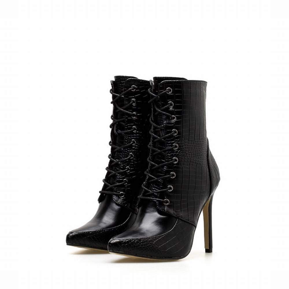 Sixminyo Damenstiefel Damenstiefel Damenstiefel Mit Spitzen High Heels (Farbe   schwarz, Größe   35)  784ca9