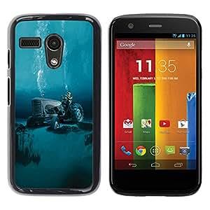 Be Good Phone Accessory // Dura Cáscara cubierta Protectora Caso Carcasa Funda de Protección para Motorola Moto G 1 1ST Gen I X1032 // Tractor Global Warming Diving