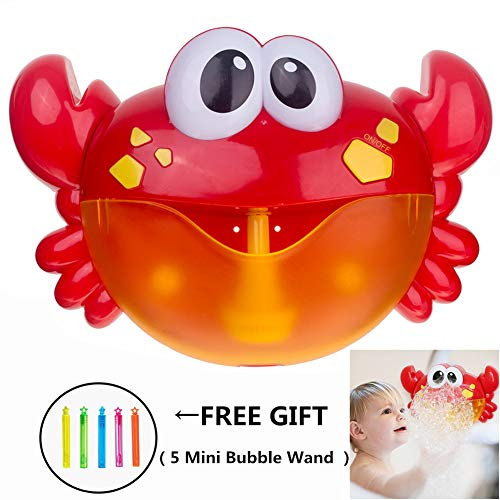 CHILEELOVE Bluetooth Crab Bubble Machine,Bath Bubble Maker,Automatic Bubble Machine for Children Baby Boys Girls Funny Washing Toy,Bathroom Music Plaything Bauble,Upgraded Charging Version[Red] -