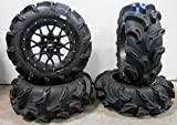 Bundle - 9 Items: ITP Hurricane 14'' Wheels Black 27'' Mega Mayhem Tires [4x110 Bolt Pattern 10mmx1.25 Lug Kit]