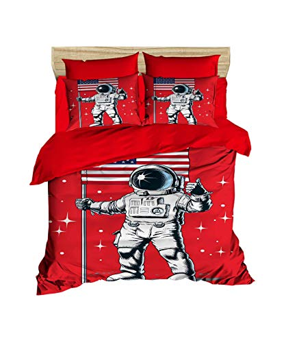 OZINCI Astronaut Bedding Set, 3D Printed Astronaut and USA Flag Themed 100% Cotton Quilt/Duvet Cover Set, Full/Queen Size, No Flat or No Fitted Sheet (3 Pieces) (Cover Sets Duvet Canada)