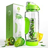 Infusion Pro 32 oz. Fruit Infused Water Bottle with Insulated Sleeve & Infusing eBook :: Bottom Loading, Large Cage for More Flavor & Pulp Strainer :: Delicious, Healthy Way to Up Your Water Intake