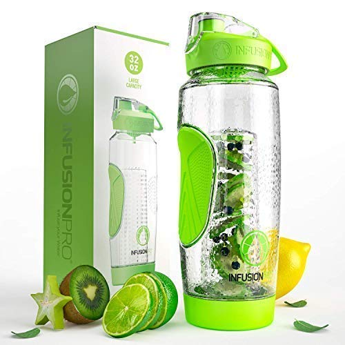 Infusion Pro 32 oz. Fruit Infused Water Bottle with Insulated Sleeve & Infusing eBook :: Bottom Loading, Large Cage for More Flavor & Pulp Strainer :: Delicious, Healthy Way to Up Your Water Intake (Best Healthy Water Bottle)