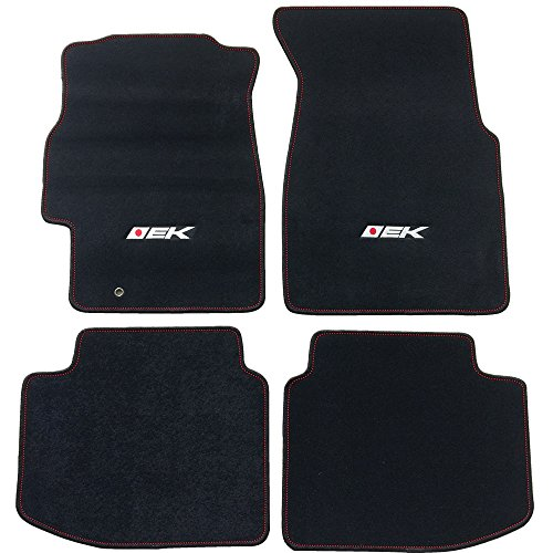 Floor Mat Fits 1996-2000 Honda Civic | EK Logo Factory Fitment Front & Rear Nylon 4PC Car Floor Carpets Carpet liner by IKON MOTORSPORTS | ?1997 1998 1999