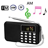 BeiLan Mini Digital AM FM Pocket Radio Portable Speaker Mp3 Music Player Stereo Sound Support TF Card USB Disk with LED Screen Display and Emergency Flashlight Function (Black)