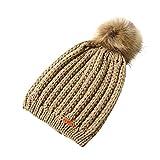 Challyhope Kids Slouchy Winter Knit Beanie Hats Faux Fur Pom Pom Hat Bobble Hat Ski Caps(Beige, Free)