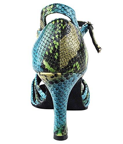 Scarpe Da Ballo Latino Per Scarpe Da Ballo Tango Latino Molto Fine Per Le Donne Sera1154 Tacco Da 2,5 Pollici + Pennello Pieghevole Pacchetto Blu-verde Serpente