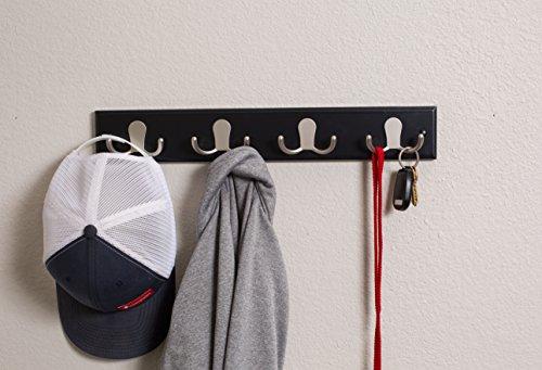 BirdRock Home Dual Hook Coat and Hat Rack - 4 Dual Hooks - 17 Inches - Wall Mount - Decorative Home Storage - Entryway Foyer Hallway Bathroom Bedroom Rail - Satin Nickel Hooks - Black Pine Bathroom Ra