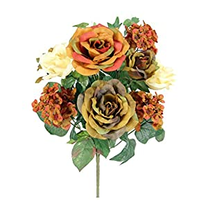 Admired By Nature 14 Stems Artificial Blooming Rose & Hydrange Ivy Mix Flowers Bush for Home Office, Wedding, Restaurant Decoration Arrangement, 2 Piece 119