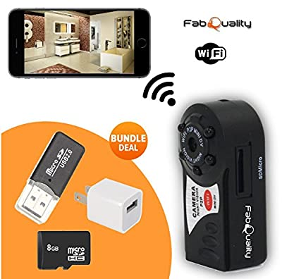 FabQuality Wifi Spy Camera Wireless on Smartphone Mini Portable Camera P2P WiFi IP Camera BONUS 8GB SD CARD Indoor/Outdoor HD DV Hidden Spy Camera Video Recorder iPhone/Android Phone/ iPad /PC Remote