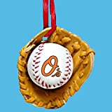 Baltimore Orioles Ball and Glove Christmas Ornament