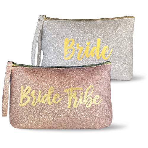 6 Piece Set | Rose Gold & Silver GLITTER  Bride Tribe Bridesmaid Canvas Cosmetic Makeup Clutch | Purse Gifts Bag for Women | Wedding Supplies Bridesmaids Proposal Box & -