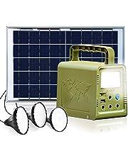 ECO-WORTHY 84Wh Portable Power Station Solar Generator Lighting Kit- Systeem met 18W zonnepaneel en LED-lamp voor buiten kamperen, vissen, jagen, noodstroomvoorziening thuis, orkaan, stroomuitval
