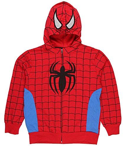 Marvel Boys Spider-Man Zip Up Hoodie Sweatshirt (Medium 8/10) - Spiderman Mask For Toddlers