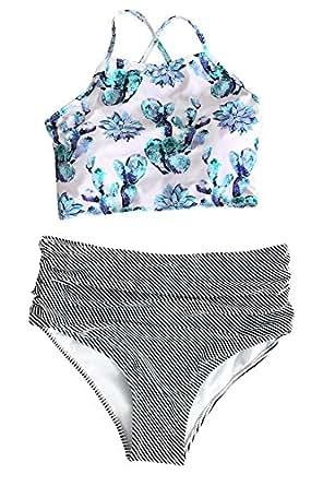 Cupshe Fashion Women's Floral Top Stripe Bottom Padding Bikini Set (S), Multicolor