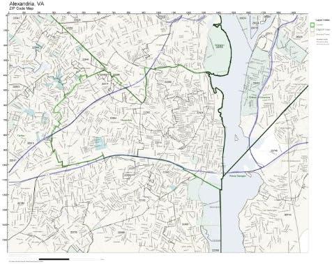 Alexandria Zip Code Map Amazon.com: ZIP Code Wall Map of Alexandria, VA ZIP Code Map