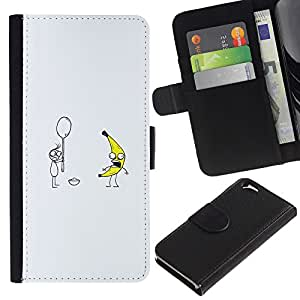 EJOY---Tirón de la caja Cartera de cuero con ranuras para tarjetas / Apple Iphone 6 / --Plátano & Spoon = divertido