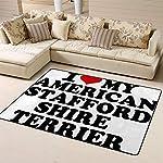Randell Bath Mat Non Slip I Love My American Staffordshire Terrier Funny Doormat Indoor Outdoor Rug 63 x 48 in 5