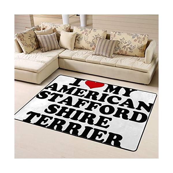 Randell Bath Mat Non Slip I Love My American Staffordshire Terrier Funny Doormat Indoor Outdoor Rug 63 x 48 in 1