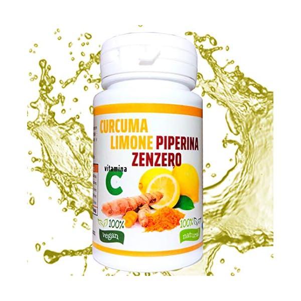 Curcuma e Piperiana Plus zenzero limone vitamina C- 130 cpr-Antiossidante Dosaggio Naturale di estratto Curcumina…
