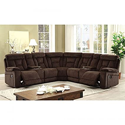 Amazon Com Esofastore Living Room Reclining Sectional W Console