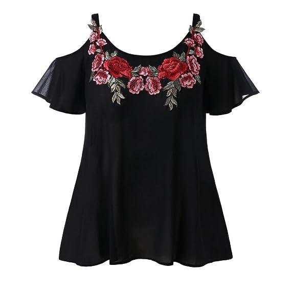 ❤ Blusa Gasa Mujer,Moda Mujer Correa Chifón Casual Frío Hombro Bordado Camiseta Blusa Tops Absolute: Amazon.es: Ropa y accesorios