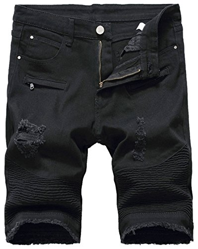 chouyatou Men's Cool Stylish Wrinkle Performance Slim Ripped Denim Shorts (32, Black)