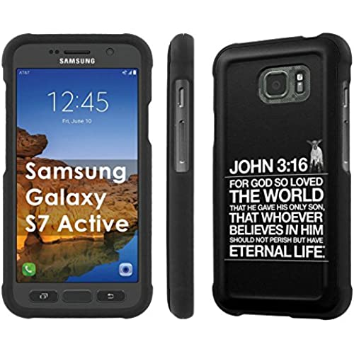 AT&T [Galaxy S7 Active][5.2 Screen] Phone Case [SlickCandy] [Black] Hard Protector Snap Designer Shell Case - [John 3:16] for Samsung Galaxy [S7 Active] Sales