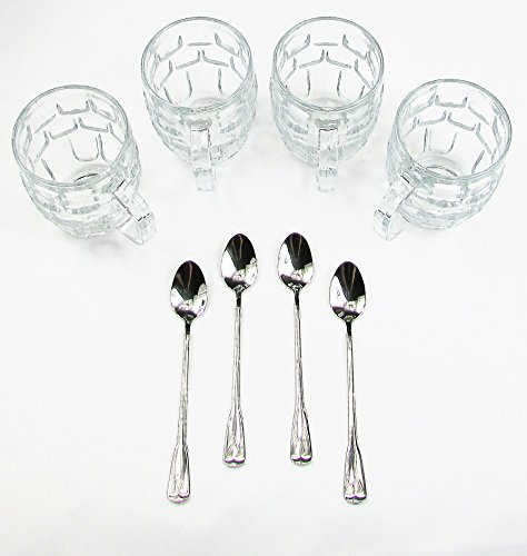 Best Frosted Root Beer FLOAT Glasses 8 piece set -4-Ice Cream Soda Mugs Set with 4-Extra Long 18/8 Stainless Steel Ice Cream Float Spoons