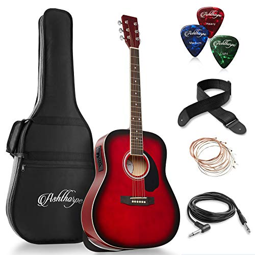 Ashthorpe Full-Size Dreadnought Acoustic-Electric Guitar Bundle – Premium Tonewoods – Red