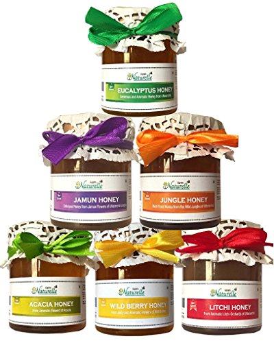 Raw Honey Of 6 Flavours - Jungle,Jamun, Litchi,Eucalyptus,Wild Berry,Acacia Honey (250 Gms X 6)
