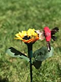 iLory Pack of 2 Solar and Battery Powered Flying Wobble Fluttering Hummingbird w./ Sunflower for Patio Garden Yard Stake Plants Flowers Wedding Outdoor Decor Random Color