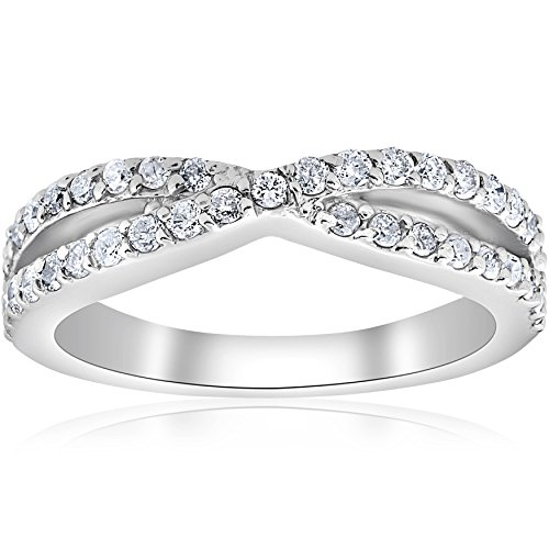 3/8Ct Diamond Crossover Infinity Stackable Wedding Band Twist Ring White Gold - Size 7.5 ()