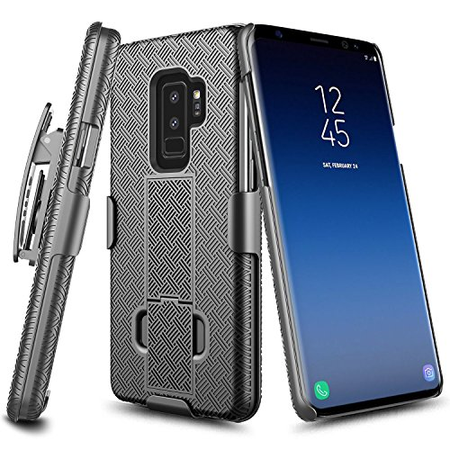 Galaxy S9 Plus Case, NageBee Combo Shell & Holster Case Super Slim Case w/ Built-In Kickstand [Swivel Belt Clip] For Samsung Galaxy S9 Plus / S9 + (Black)