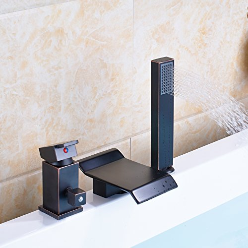 50%OFF Senlesen Oil Rubbed Bronze Waterfall Bathtub Mixer Faucet with Handheld Shower Deck Mount Widespread 3pcs