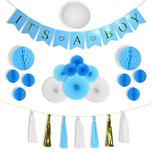 Baby Shower Decorations for Boy Kit, It's a Boy, Hanging Banner, White, Blue and Gold Tassels, Tissue Paper Fans, Honeycomb balls, Lantern, High Quality Indoor/Outdoor Party Supplies -