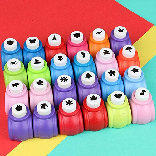 Fascola Mini Paper Craft Punch Card Scrapbooking Engraving Kid Cut DIY Handmade Hole Puncher for Festival Papers and Greeting Card Set of 20 with Random Colors (Set of 20) ()