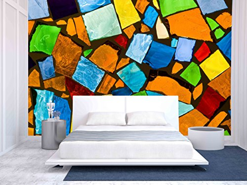 wall26 - Abstract Mosaic - Removable Wall Mural | Self-adhesive Large Wallpaper - 66x96 inches