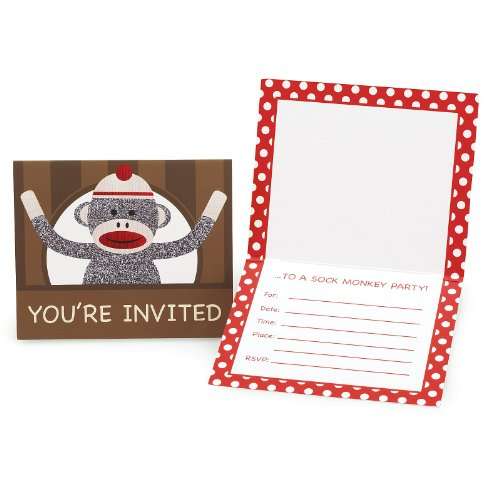 Sock Monkey Red Invitations (8), Health Care Stuffs