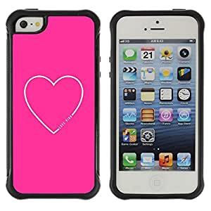 Suave TPU Caso Carcasa de Caucho Funda para Apple Iphone 5 / 5S / pink white love heart valentines girlfriend / STRONG