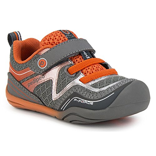 pediped Force Grey/Orange (Infant/Toddler) Baby Shoe