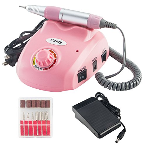 Fainy 30000RPM Pro Electric Nail Drill Machine Finger Toe Nail Care Pedicure Manicure Kits File Drill Bits Sanding Band with Foot Pedal,Set Low Noise Low Vibration (Pink) from Fainy