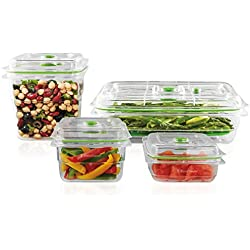 FoodSaver Vacuum Sealed Fresh Container Set, 4-Piece Set, Clear