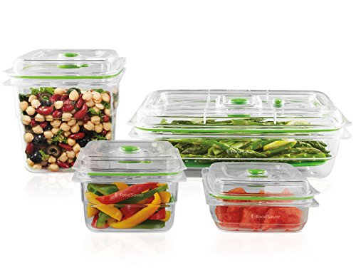 FoodSaver FA4SC35810-000 Fresh Vacuum Seal Food and Storage Containers, 4-Piece Set and 2 Produce Trays, Clear