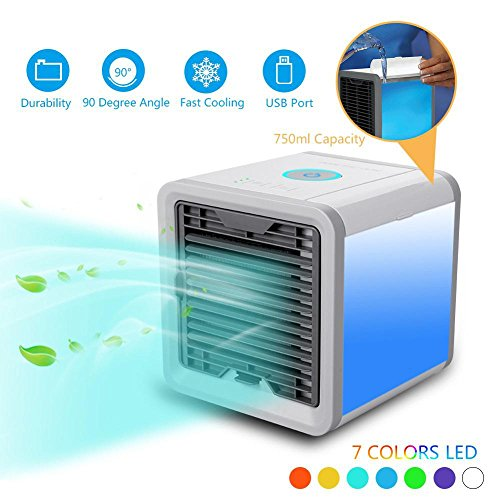 Access & Gadgets Personal Space Cooler Arctic Air 3 in 1 USB Mini Portable Air Conditioner Humidifier Purifier, 3 Fan Speed 4 Foot Cooling Area 7 Color LED Light for Bedroom Office Home Outdoor Travel by Access & Gadgets