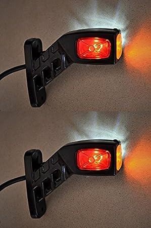 LiNKFOR Begrenzungsleuchte Umrissleuchte 2X 6LED 12V 24V Positionsleuchte Seitenleuchten Seitenmarkierungsleuchten f/ür Markierung LKW PKW Anh/änger Van Wei/ß Rot