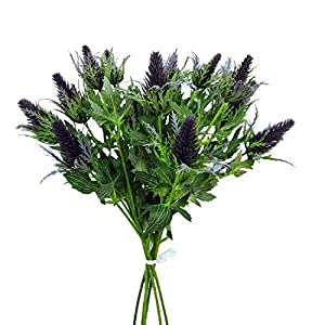 Lily Garden 6 Long Stems Artificial Eryngo Thistles Bunch of Flowers Plants for Home Decor Centerpieces (Purple)