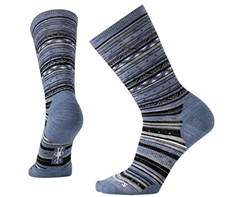 Smartwool Women's Ethno Graphic Crew Socks (Blue Steel Heather) Large