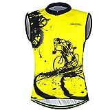 xxl mens cycling jersey - Sleeveless Cycling Jersey Aogda Men Bicycle Bike Shirts Vest Clothing Biking Bicycle Bib Shorts (Yellow Vest Jerseys, XXL)